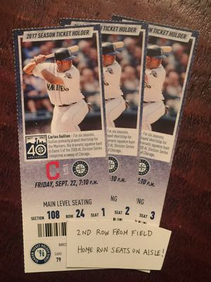 Mariners tickets vs Cleveland - 2nd Row from field on aisle