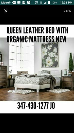 QUEEN BED WITH ORGANIC MATTRESS . BED includes Headboard Footboard Rail and MATTRESS .$300.