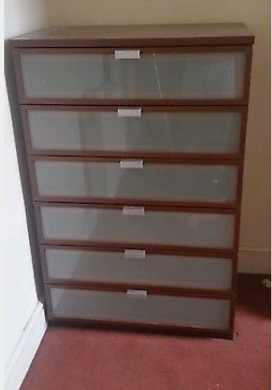 IKEA BROWN HOPEN 6 DRAWER CHEST OF DRAWERS WITH FROSTED GLASS. IKEA BROWN HOPEN 6 DRAWER CHEST OF DRAWERS WITH FROSTED GLASS
