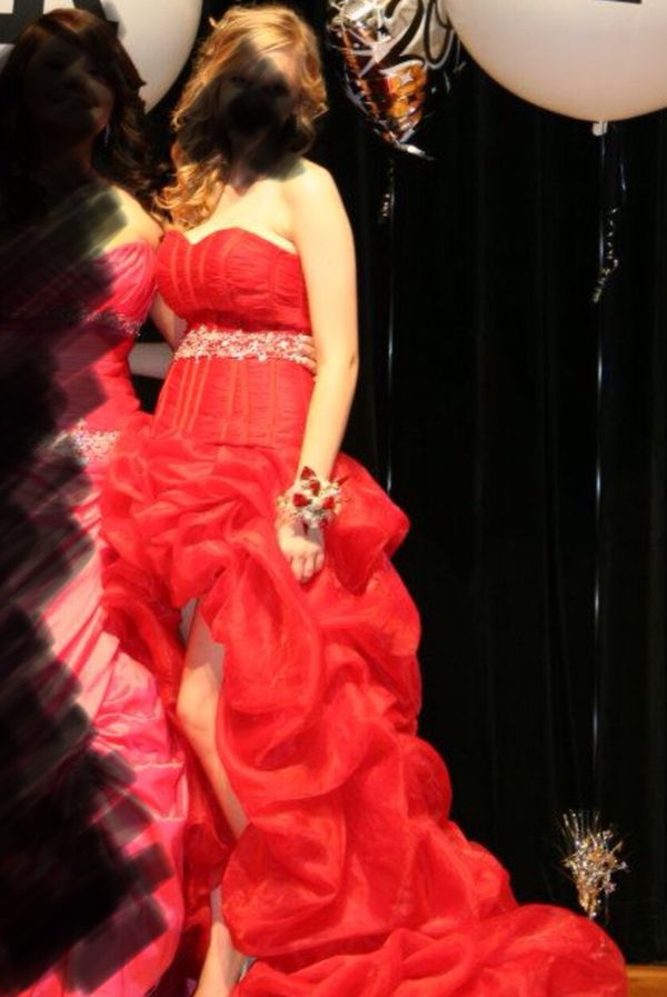 Red hi low ruffle prom dress, size 6-8; silver heels, size 6 ...