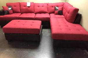 Brand New Red Linen Sectional Sofa w/Ottoman