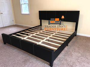 Brand New King Size Black Faux Leather Platform Bed Frame