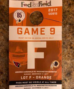 Redskins parking pass