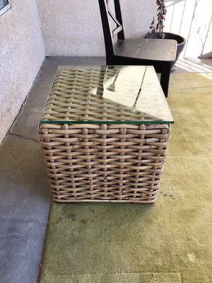 Restoration Hardware woven rattan side table