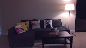 Sofa bed + coffee table + floor lamp