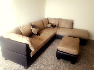 Brand New Tan/Mocha Sectional Sofa + Ottoman