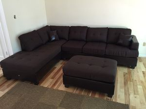 Brand New Brown Blended Linen Sectional Sofa + Ottoman