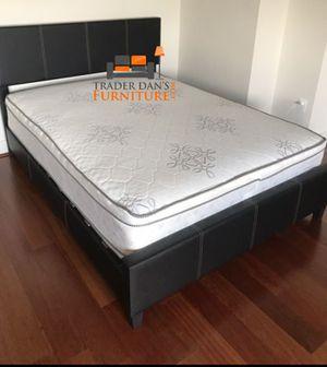 Brand New Full Size Leather Platform Bed + Pillowtop Mattress