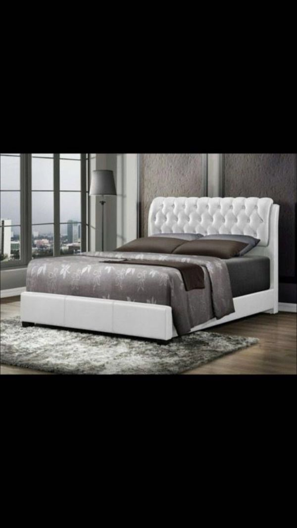 brand new queen or full size leather bed with orthopedic mattress for 499 - Leather Bed