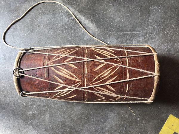 Vintage leather and carved wood bohemian drum or home decor ...