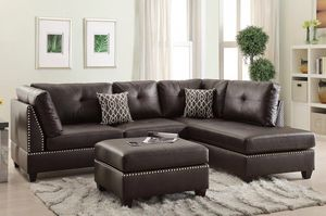 Brand new expresso bonded leather sectional with ottoman
