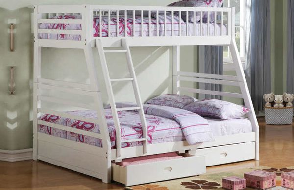 Twin /full w storage bunk bed white
