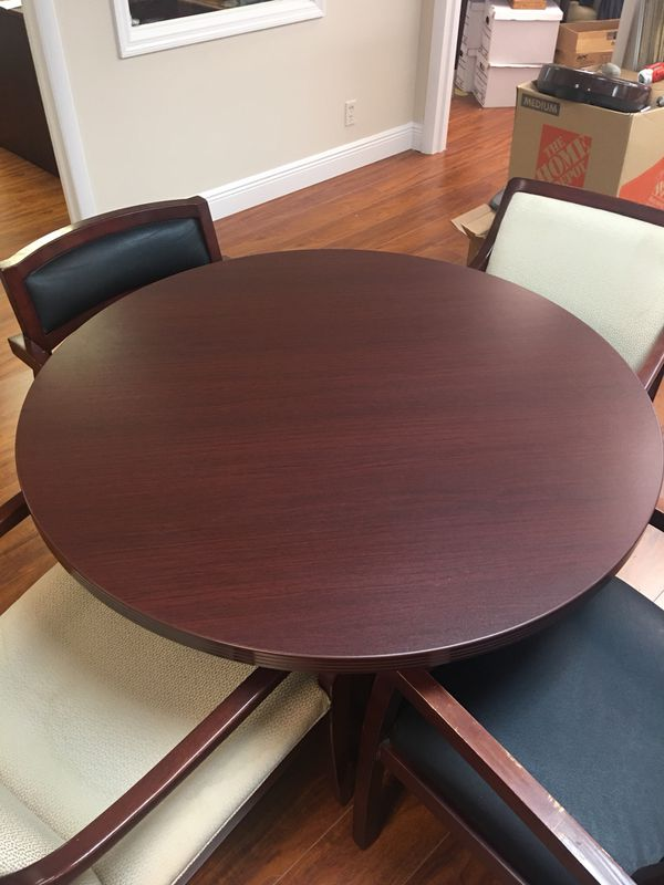 Round Conference Table Cherry Wood With Or Chairs Business - Round conference table for 4