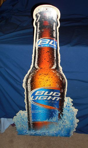 """BUD LIGHT BEER BOTTLE METAL SIGN. 36"""" TALL; MAN CAVE, BAR ROOM, FRATERNITY, COLLEGE PARTY, DORM ROOM, APARTMENT"""