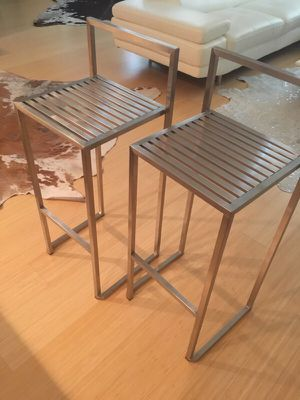 Brushed stainless steel modern barstools