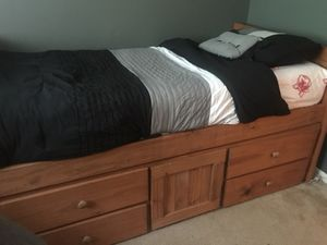 Boys Bedroom set in pine wood. Captain bed, dresser, and nightstand