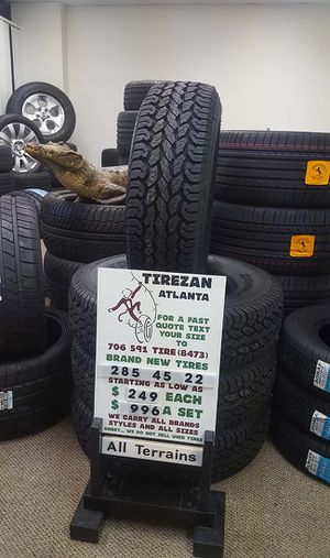 285 45 22 AT BRAND NEW TIRE TIRES $249 EACH $996 SET