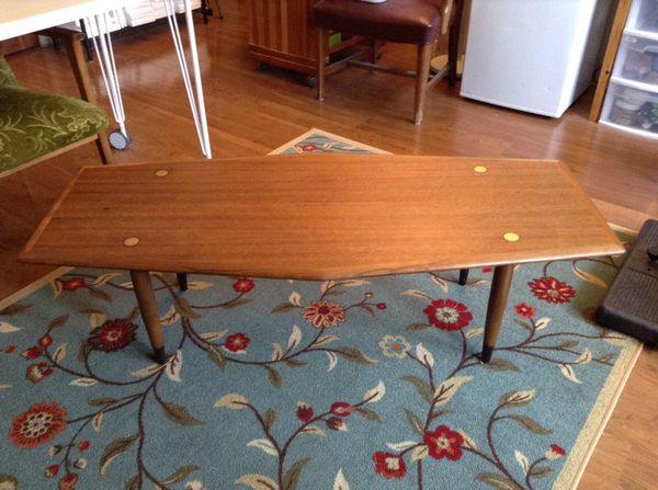 Vintage walnut dux mid century mcm coffee table made in for Furniture bremerton