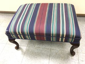 Queen Ann ottoman-bench, mahogany frame clean colorful upholstery 26 X 18, height 15