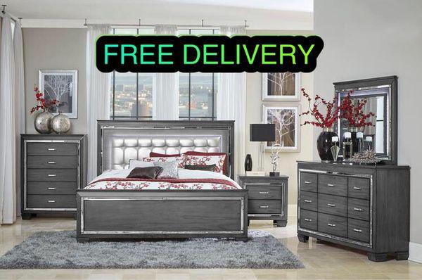Allura 1916 Grey 5-Piece Queen Bedroom Set Homelegance (Furniture ...