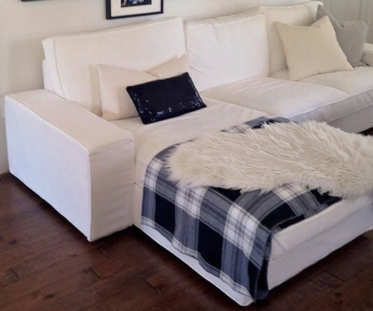 White Ikea sofa sectional with chaise like new - Can Deliver