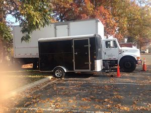 Black and grey diamond plated box trailer
