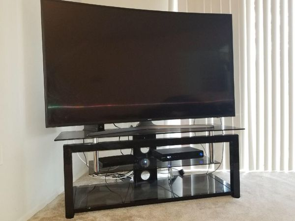 Black glass frame tv stand