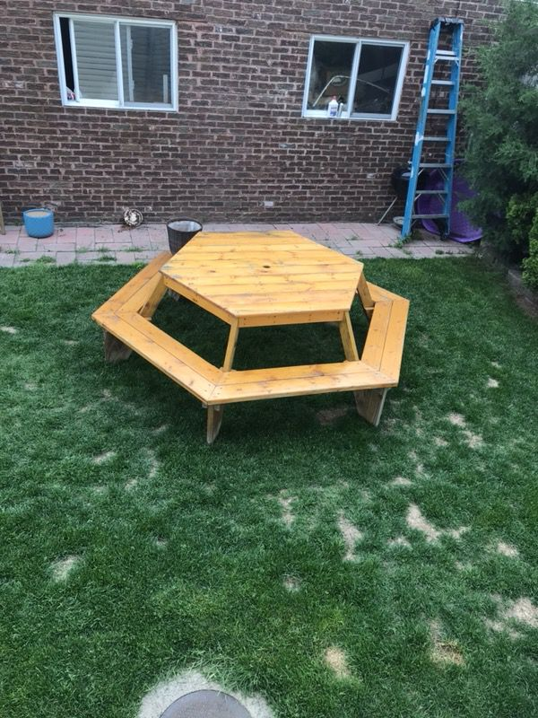 Picnic Table For Person Solid Wood Hexagon Pet Supplies In - 12 person picnic table