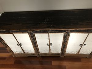 Antique dining hutch. Could be used in office.