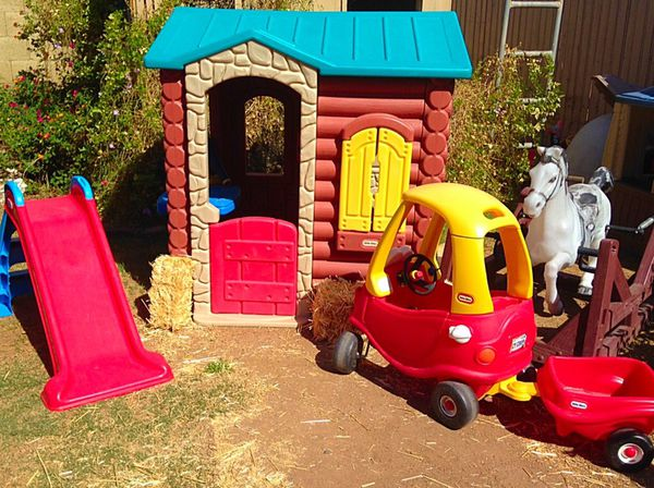 Cosy Little Tikes Home Garden Playhouse. Little Tikes Log Cabin Playhouse Slide Cozy Coupe with Trailer  Spring Horse