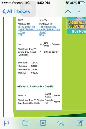 Busch Gardens Christmas Town Ticket