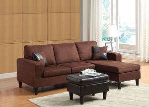 REVERSIBLE SECTIONAL BROWN MICROFIBER