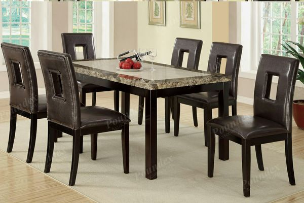 Brand New Faux Marble Dining Table Six Chairs