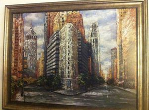 Large City Scene Canvas Picture / Painting