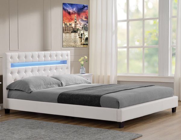 QUEEN BED WHITE W LED LIGHTS