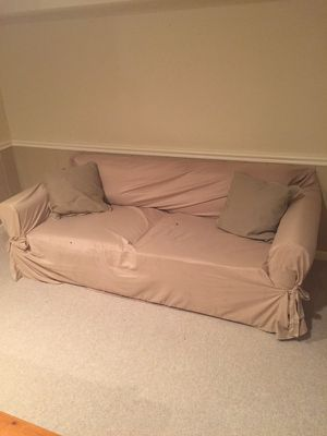 Couch with washable cover and pillows