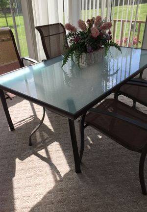 Patio Glass Top Table And 4 Chairs New Just Put Together