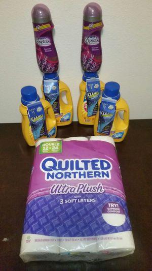 (4) Arm & Hammer Laundry Detergent, (2) Purex Crystals & Toilet Paper. All Brand New