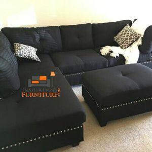Brand New Black Linen Sectional Sofa + Ottoman