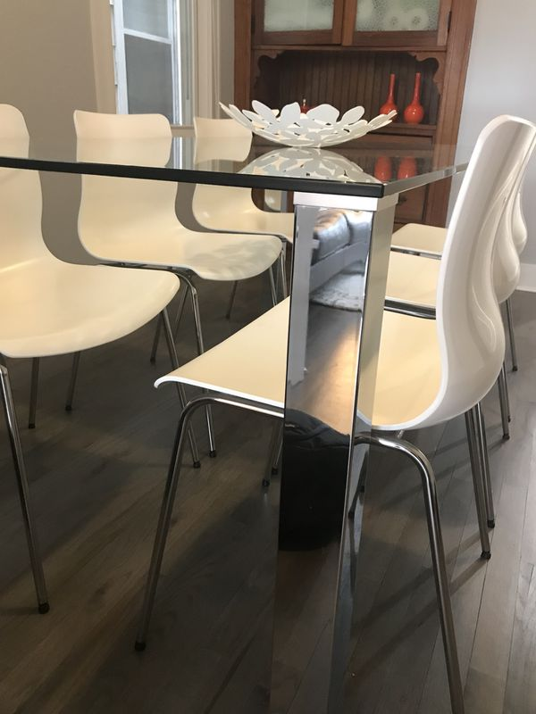 Modern Glass Top Dining Room Set Furniture In Chicago IL