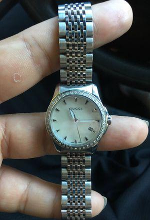 Gucci G-Timeless stainless watch, Diamond bezel