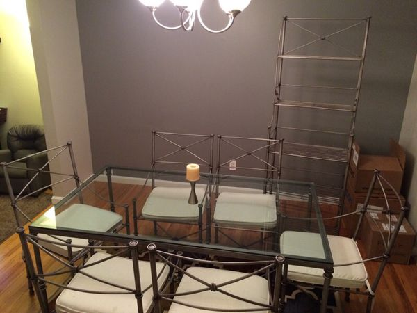 Pier One Dining Set Wrought Iron Glass Top Table Chairs Bakers Rack Furniture In Cincinnati OH