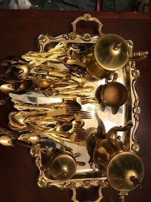 Gold plated tea set/platter/flatware