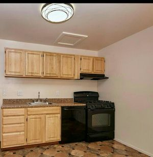 Kitchen cabinets and appliances:dish washer, gas stove, hood and refrigerator.