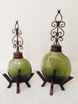 2 Decorative Jars with Pedestals *Price Firm*