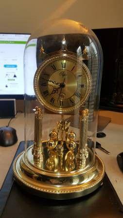 Rare ELGIN MAGIC EYE ANNIVERSARY CLOCK GLASS DOME ELEGANT