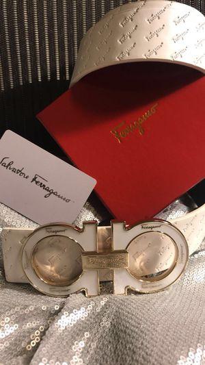 """White Monogrammed Ferragamo Belt (32-34"""")"""