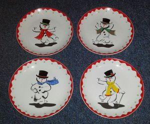 4 Boston Warehouse Christmas Snowmen Porcelain Plates