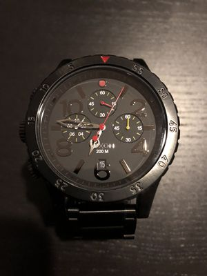 Nixon Chrono 48-20 A486-1320 All Black/Multi Stainless Steel Watch Authentic