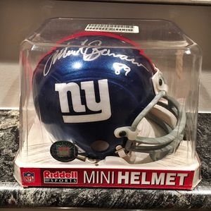 NY Giants football mini helmet signed by TE greats Mark Bavaro and Jeremy Shockey!